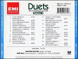 Duets with Spanish Guitar Volume 2 back cover