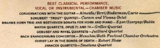 3rd Grammy - best classical performance, vocal or instrumental, chamber music